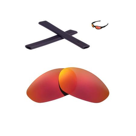 Walleva Fire Red Polarized Lenses And Black Earsocks For Oakley Minute 2.0 (Black And Red Oakleys)