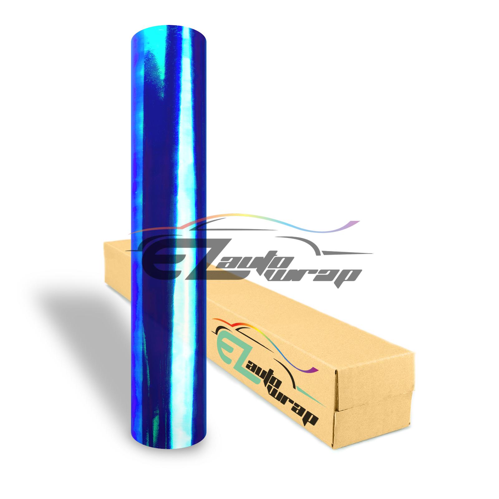 "EZAUTOWRAP 12"" Wide Glossy Neo Chrome Chameleon Dark Blue Headlight Taillight Fog Light Side Marker Vinyl Tint Film Roll Sticker Self Adhesive"