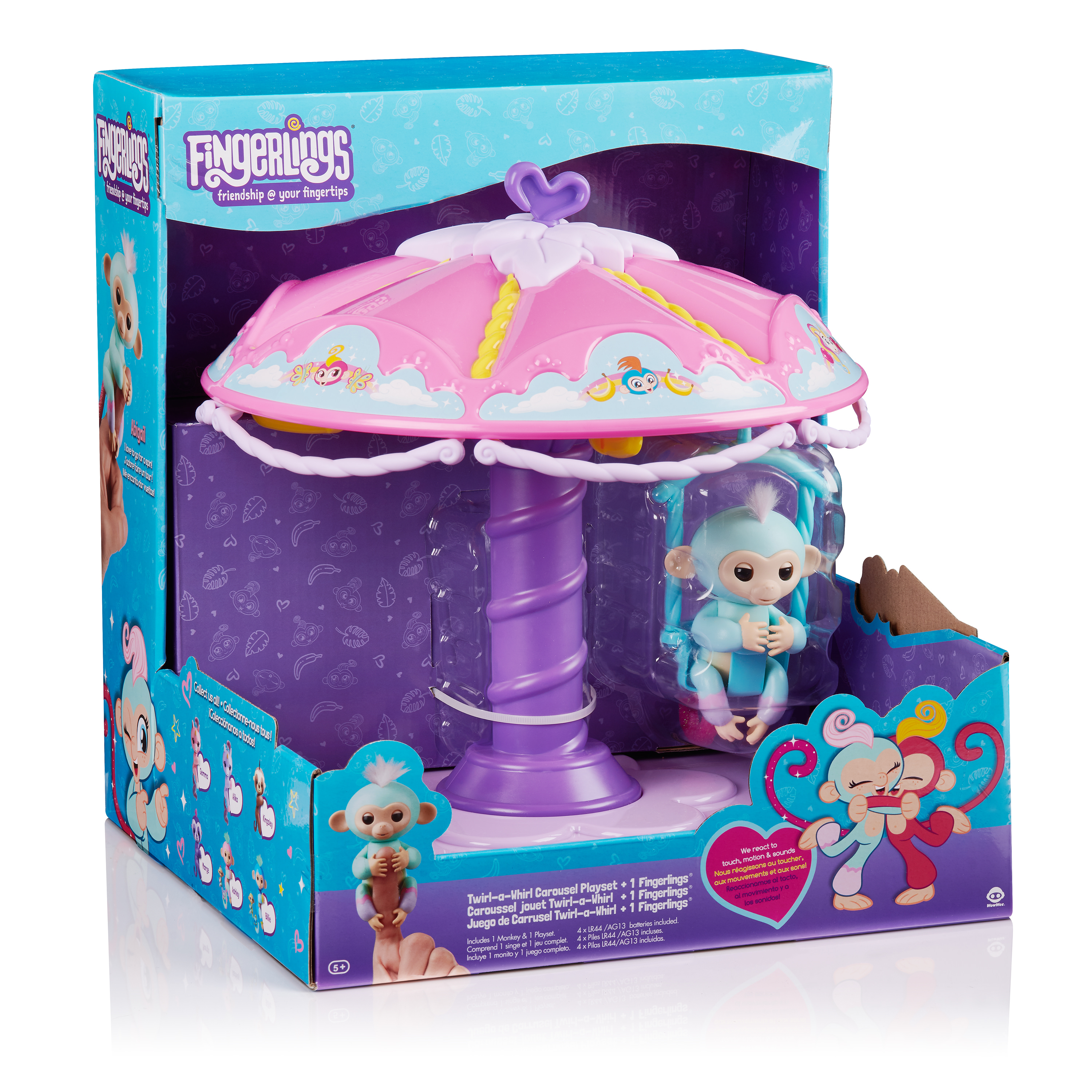 Fingerlings Playset: Twirl-a-Whirl Carousel with 1 Fingerlings Baby Monkey  -