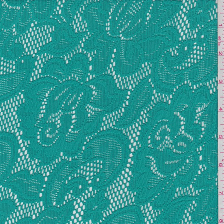 Aqua Green Floral Stretch Lace, Fabric By the Yard
