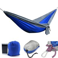 """Double Hammock Bearing capacity 300KG 106"""" x 55"""" Portable Nylon Outdoor Camping Swing Fabric Hammock 2 Persons Travel Hanging Bed-Blue"""