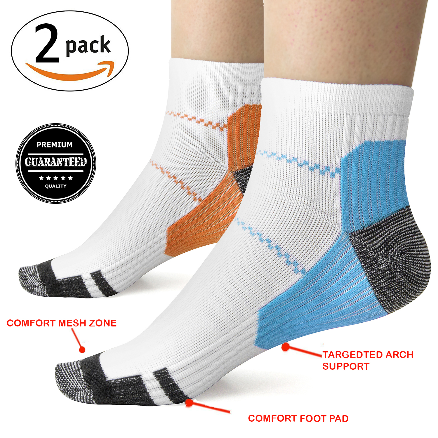 Plantar Fasciitis Socks Premium Heel, Ankle & Arch Support. Compression Sleeve with Heel Hugger to Increase Circulation - LG/XL 2PK Blue & Orange