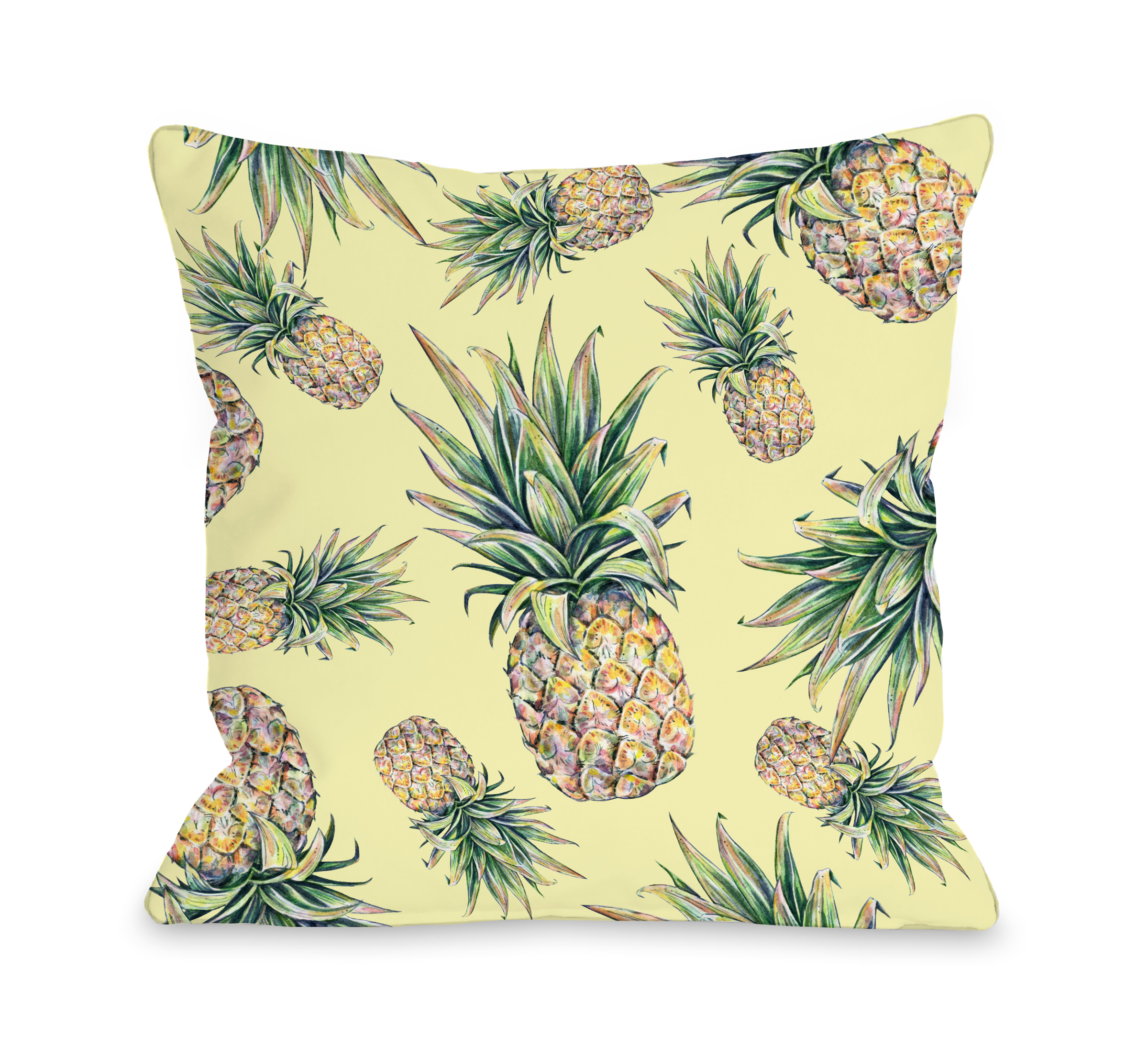 Summer Pineapple Print - Multi 16x16 Pillow by OBC