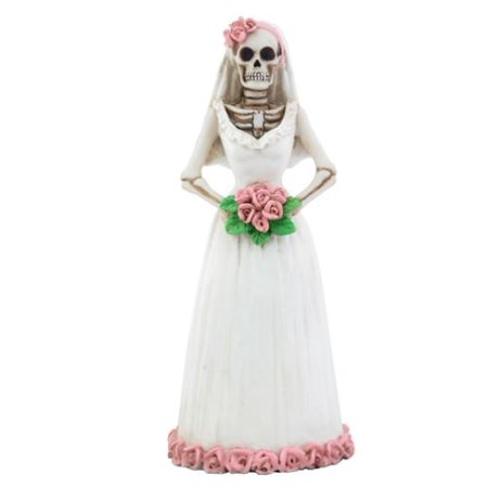 Skeleton Wedding Bride White Dress Day of the Dead Dia de Los Muertos Figurine