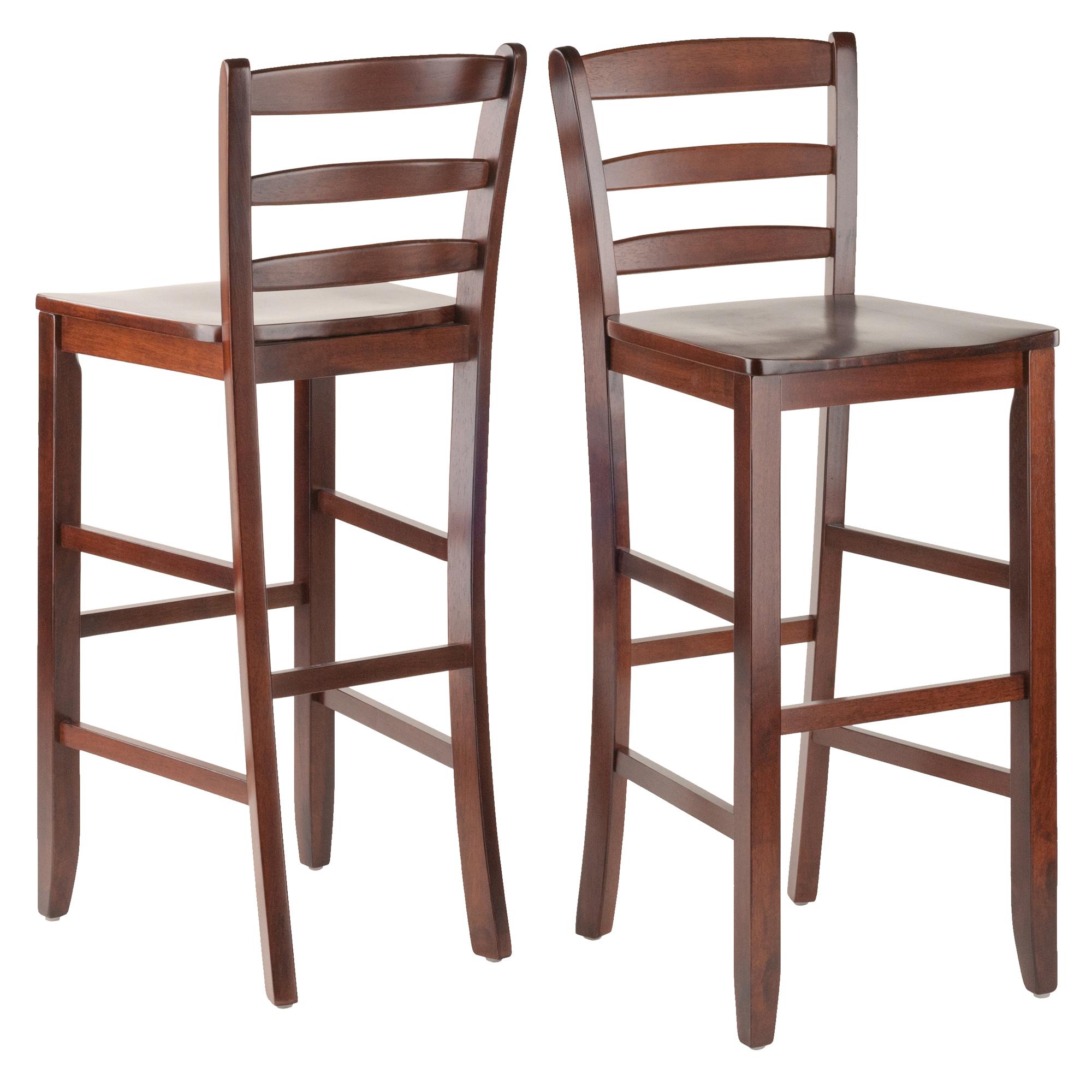 Winsome Wood Benjamin Ladder-Back Bar Stools, Set of 2, Walnut Finish