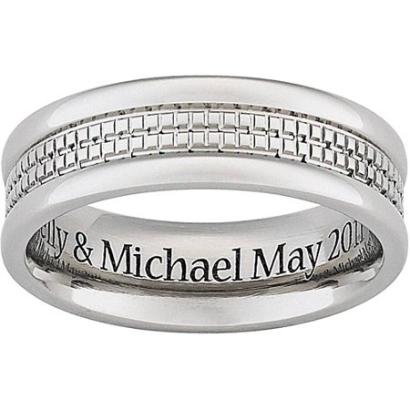 personalized mens engraved wedding band in titanium