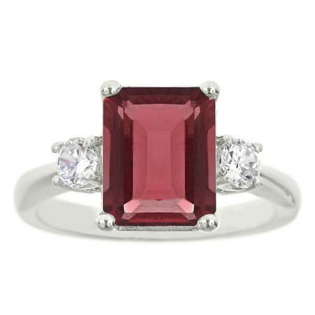 18K White Gold Plated Princess Cut Red Ruby CZ Ring