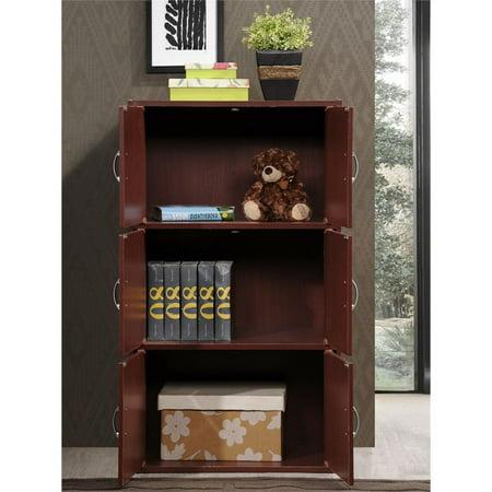 Hodedah 3 Shelf 6 Door Bookcase in Mahogany - image 4 de 5