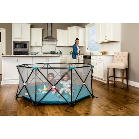 Regalo My Play Portable Playard Indoor and Outdoor with Carry Case and Adjustable/Washable, Teal, 8-Panel