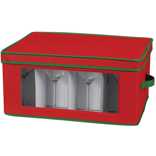 Household Essentials Holiday Stemware Goblet Chest