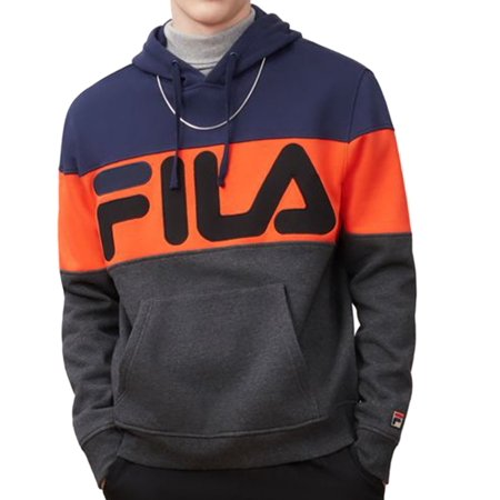 Fila Mens Flamino Fleece Hoodie, Adult, Charm / Peacoat / Cherry Tomato, XL