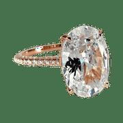 Alexandra LaRosa 5CT Oval Petite French Pav Crown Rose Gold IOBI Simulated Diamond Ring