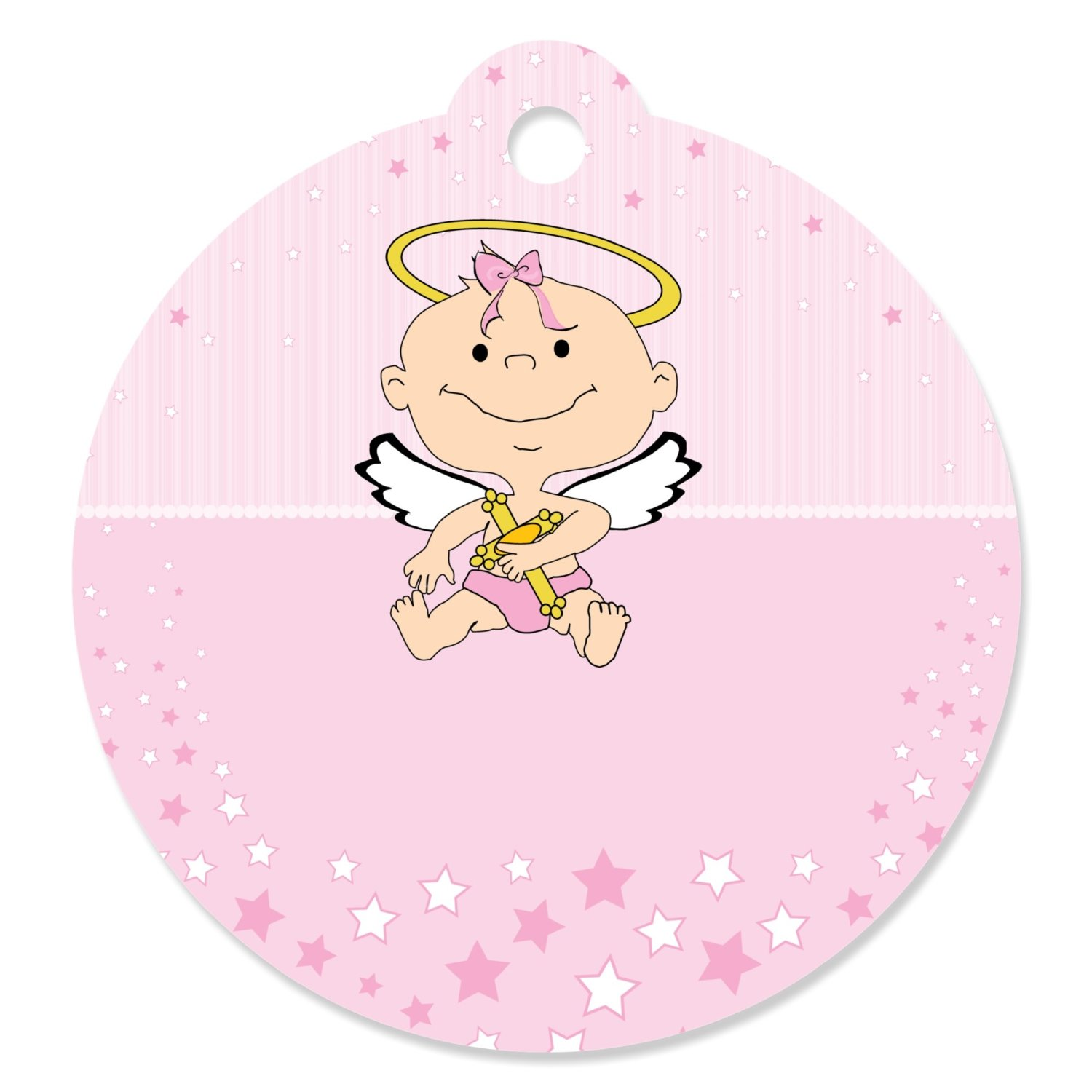 Angel Baby Girl - Baptism Party Favor Tags (Set of 20)