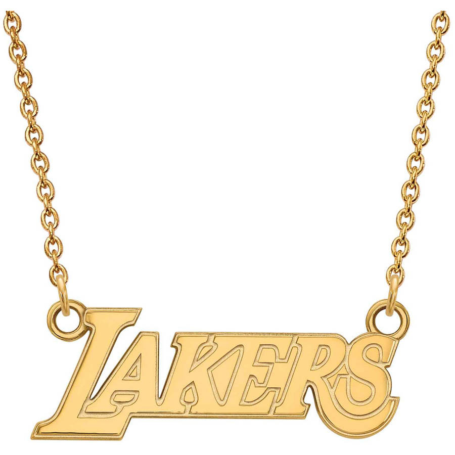 LogoArt NBA Los Angeles Lakers 14kt Gold-Plated Sterling Silver Small Pendant with Necklace