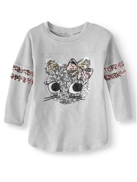 Miss Chievous Sequin Graphic 3/4 Sleeve Varsity Shirt (Little Girls & Big Girls)