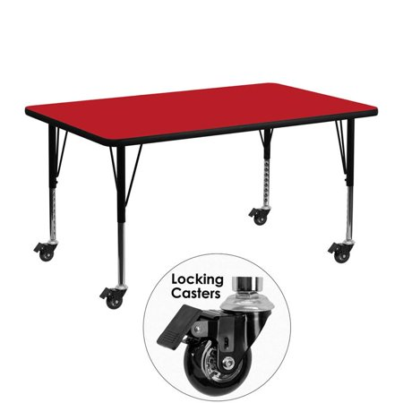 """Flash Furniture 26"""" x 24"""" x 48"""" Rectangular High Pressure Top Mobile Activity Table in Gray - image 1 de 5"""