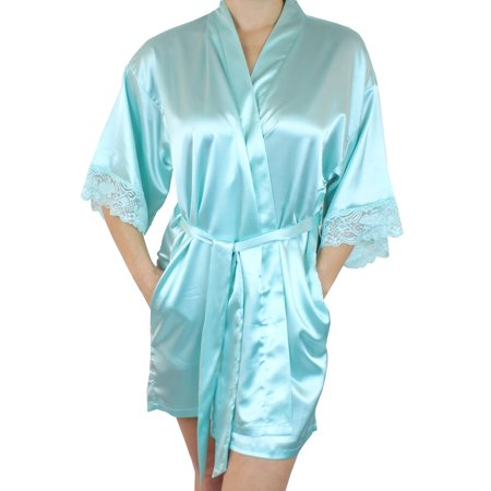 ce3bc1cded Ms Lovely - Women s Satin Kimono Bridesmaid Short Robe Lace Trim Sleeves -  Blue Aqua Marine M L - Walmart.com