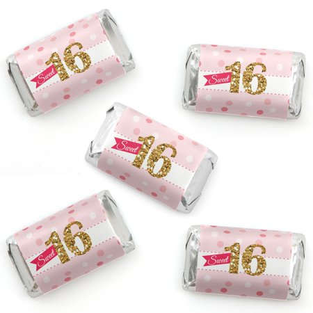 Sweet 16 - Mini Candy Bar Wrapper Stickers - 16th Birthday Party Small Favors - 40 Count](Sweet 16 Favors)