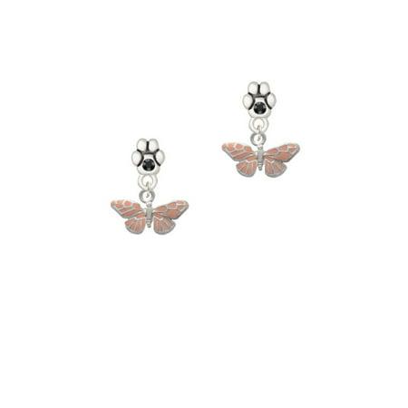 Small Butterfly Earrings - Small Pink Butterfly - Black Crystal Paw Earrings