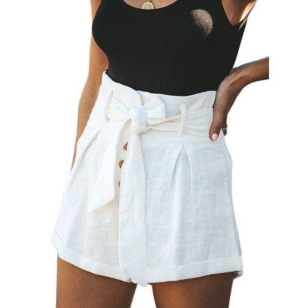 Back Zip Linen Shorts (EZCottonLinen Womens Cotton Linen High Waist Tie Belt Shorts Ladies Summer Beach Hot Pants Trouser)