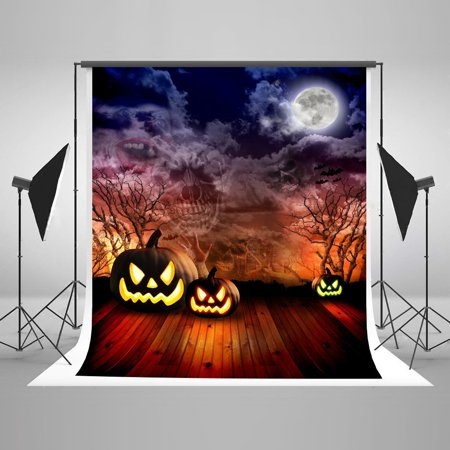 HelloDecor Polyster 5x7ft Halloween Photography Backdrops Wooden Floor Photo Background Pumpkin Lantern Backdrop for Photo Booth - Halloween Photo Booth Rental