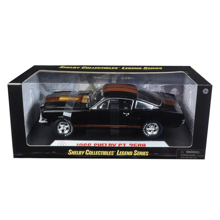 1966 Shelby Mustang GT350H Hertz Black with Racing Wheels 1/18 Diecast Model Car by Shelby Collectibles
