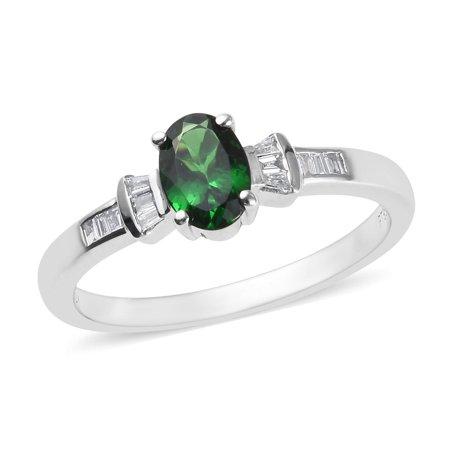 RHAPSODY 950 Platinum AAAA Premium Tsavorite Garnet Diamond Baguette Ring Jewelry for Women Ct 0.8 E-F Color VS1-VS2
