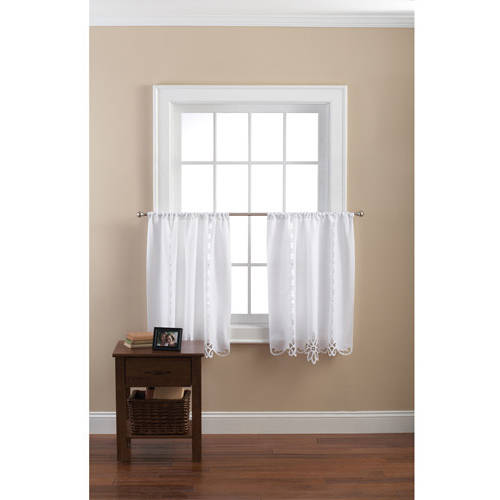 Mainstays Battenberg Poly/Cotton White Curtain Tiers, Set of 2