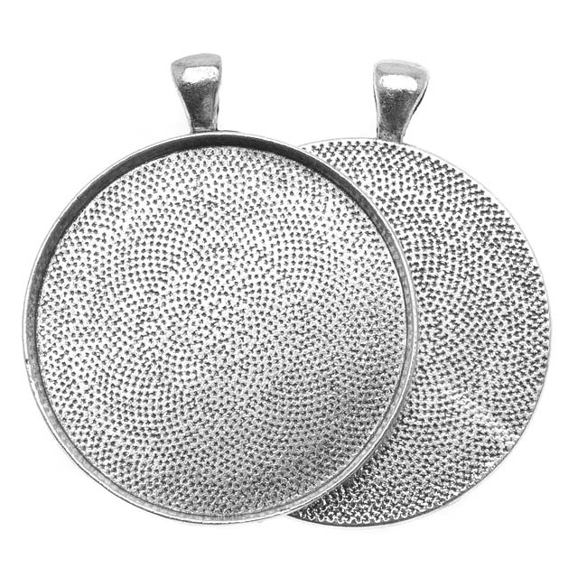 Antiqued Silver Plated Round Bezel Pendant 38mm - 1 1/2 Inch (1)