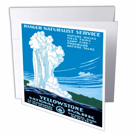 3Drose Ranger Naturalist Service Yellowstone L Park  Us Dept Of Interior  Greeting Cards  6 X 6 Inches  Set Of 6