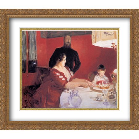Fête Familiale: The Birthday Party 2x Matted 32x28 Large Gold Ornate Framed Art Print by Sargent, John Singer