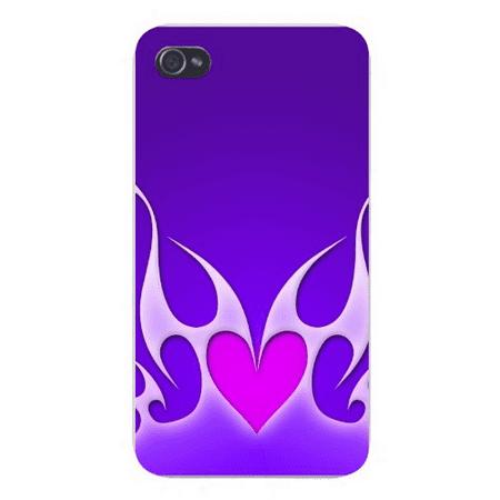 Apple Iphone Custom Case 4 4s Snap on - Flames Making Heart Shape Artwork