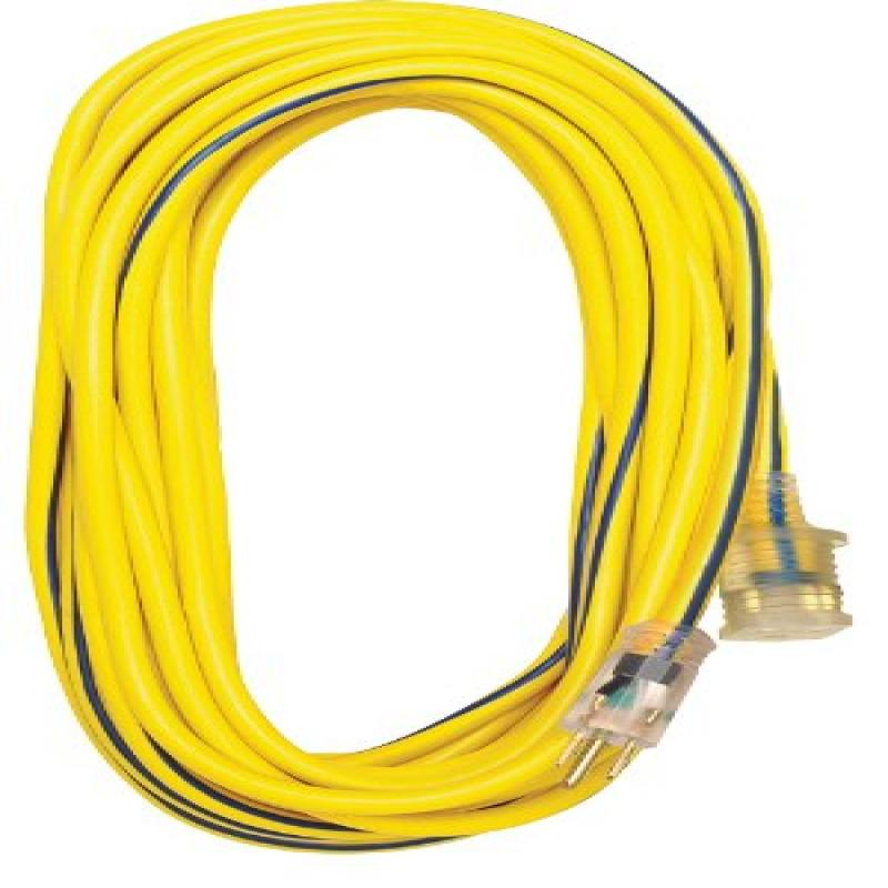 Voltec 05-00366 12/3 SJTW Outdoor Extension Cord with Lighted End, 100-Foot, Yellow with Blue Stripe