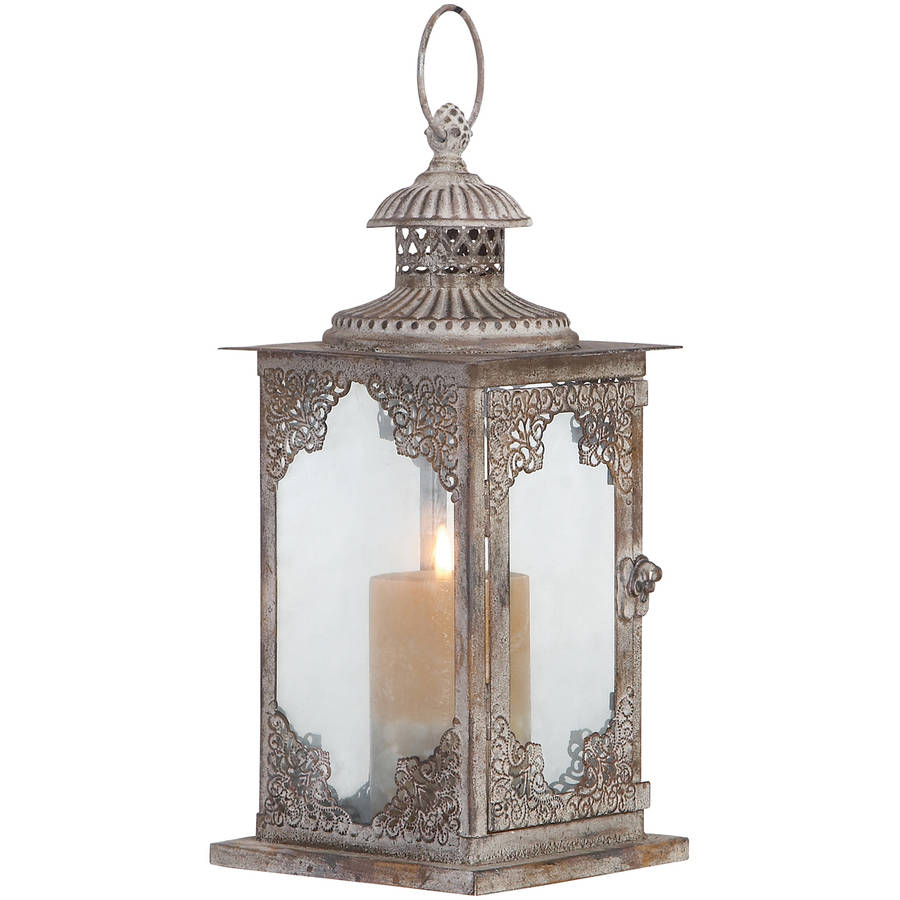 Decmode Metal and Glass Lantern, Multi Color