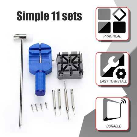 HC-TOP 11PCS Simple Watch Repairing Tools Kit Watch Belt Holder Pin Punches Set - image 5 de 6