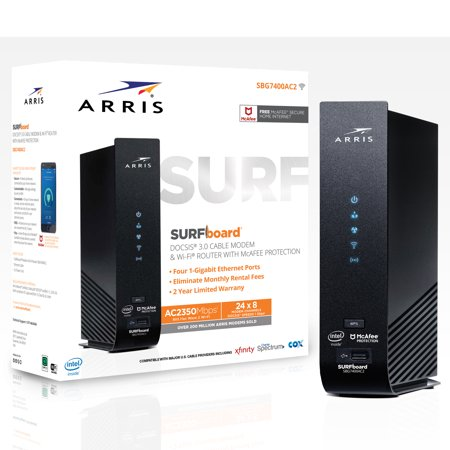 ARRIS SURFboard SBG7400AC2 (24x8) Cable Modem Router Combo, DOCSIS 3.0 | AC2350 | Certified for XFINITY by Comcast, Spectrum, Time Warner, Cox & more | 1 Gbps Max Speed | McAfee