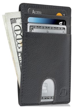 Slim Minimalist Front Pocket Wallets For Men & Women - Genuine Leather Credit Card Holder W/ Thumbhole RFID Wallet With Gift Box