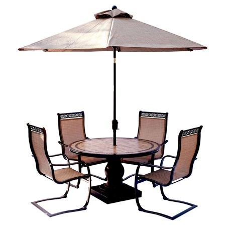 Hanover Outdoor Monaco 5-Piece Tile-Top Pedestal Dining Set with Sling C-Spring Chairs and Umbrella in Cedar