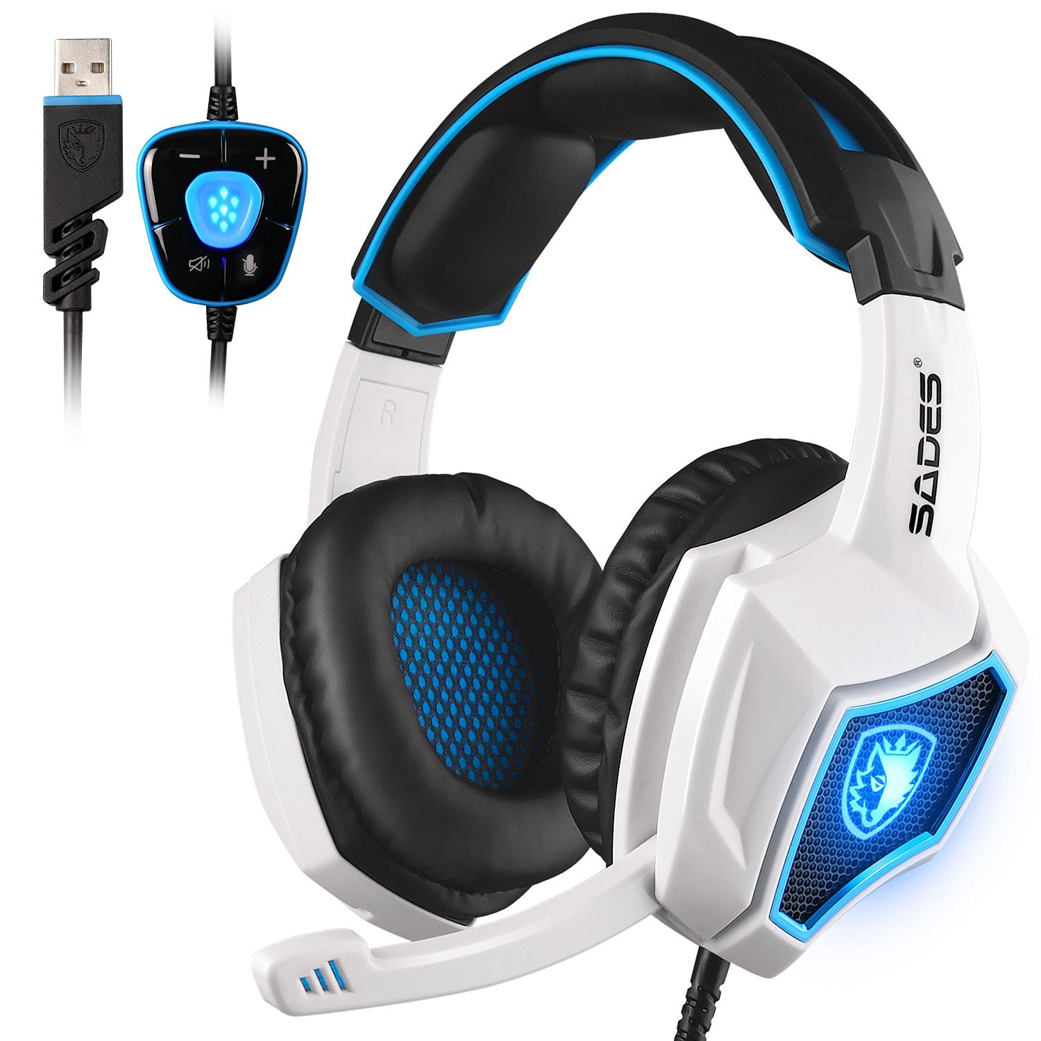 SADES Spirit Wolf 7.1 Surround Sound Stereo USB Gaming Headset with MIC Over-the-Ear Noise Isolating Volume Control For PC Gamers