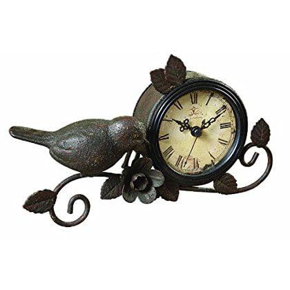 Creative Co-op Shabby Cottage Chic Metal Bird Desk Clock Home Decor