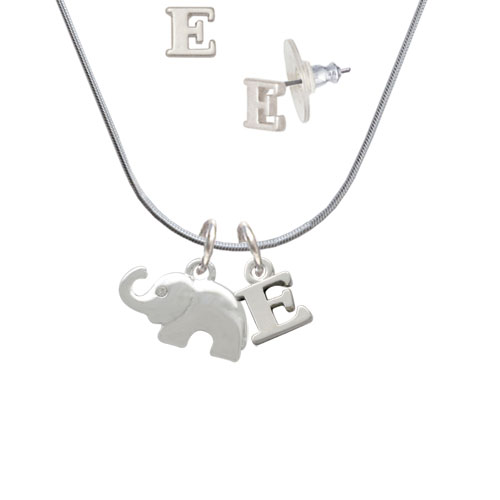 Elephant with Crystal Eyes - E Initial Charm Necklace and Stud Earrings Jewelry Set