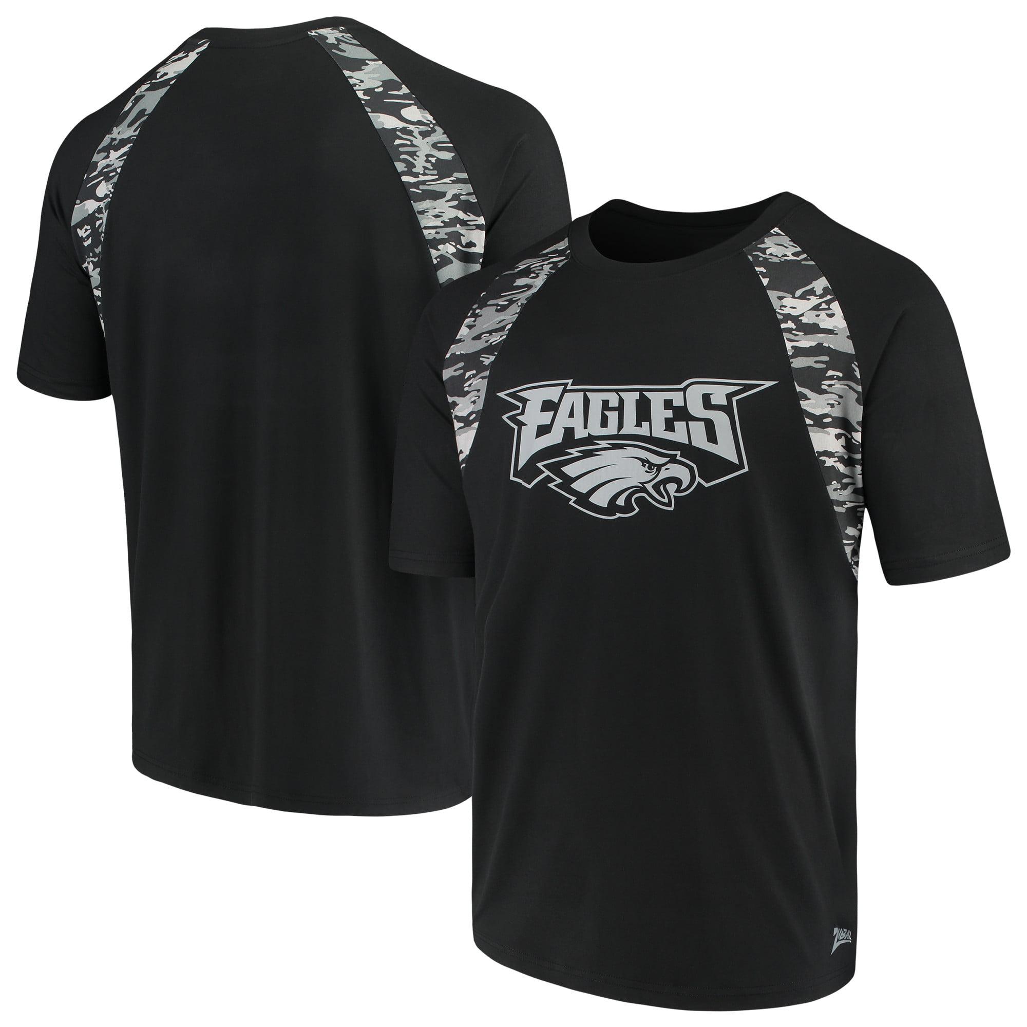 Men's Zubaz Black Philadelphia Eagles Camo Raglan T-Shirt