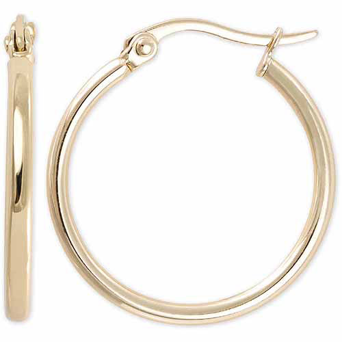 Yellow Gold over Sterling Silver Tube Hoop Earrings