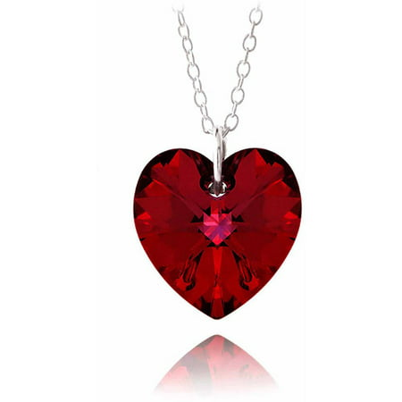 Ruby Red Swarovski Elements Sterling Silver Heart - Ruby Slider Pendant
