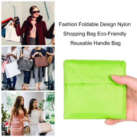 Fashion Foldable Design Nylon Shopping Bag Eco-Friendly Reusable Handle Bag - image 5 of 8