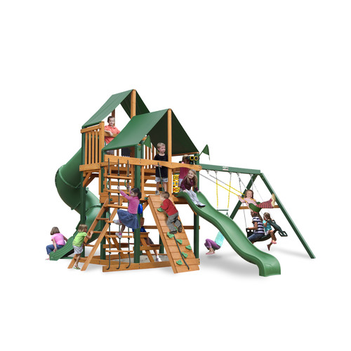 Gorilla Playsets Great Skye I with Green Vinyl Canopy and Timber Shield Posts by Gorilla Playsets