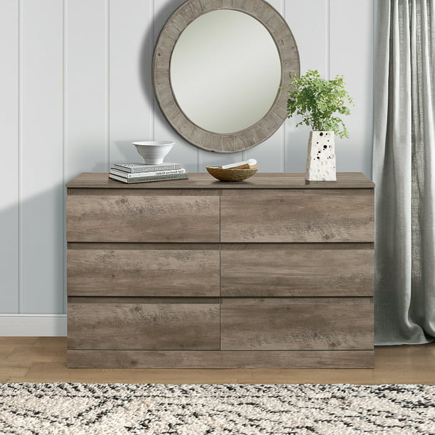 Brindle 6 Drawer Dresser Gray Oak By Hillsdale Living Essentials Walmart Com Walmart Com