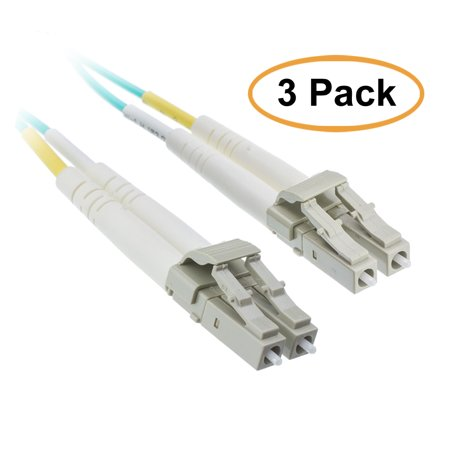 eDragon 10 Gigabit Aqua OM4 Fiber Optic Cable, LC/LC, Multimode, Duplex, 50/125, 10 Meter (33 Foot), 3 Pack