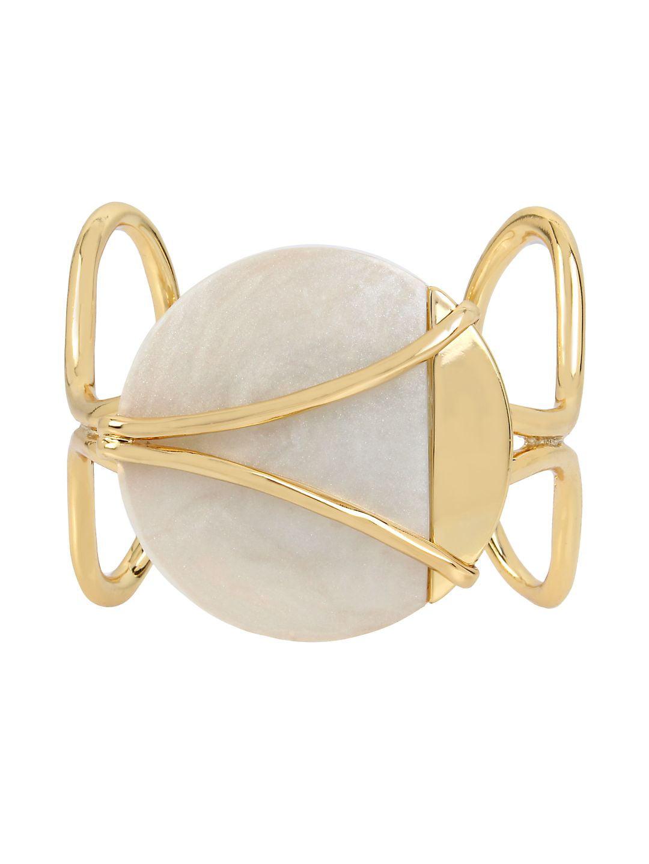 Rising Moon Crystal Pearlized Open Cuff Bracelet