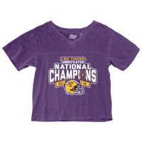 LSU Tigers Blue 84 Women's College Football Playoff 2019 National Champions Dyed Football V-Neck Crop Top - Purple